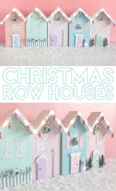 Wooden Christmas Row Houses with Lights Wooden Christmas Row Houses with Lights Such a cute way to make a Christmas village. Source by HobbyLobby Christmas Sewing, Pink Christmas, Handmade Christmas, Vintage Christmas, Christmas Holidays, Christmas Trees, Diy Christmas Village, Christmas Mantles, Victorian Christmas