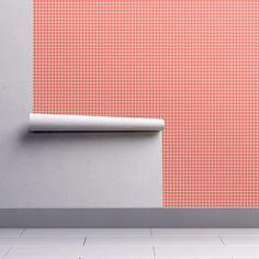 Orange graph checks on Isobar by diseniaz Check Fabric, Perfect Wallpaper, Cloth Napkins, Custom Wallpaper, Textured Walls, Installation Art, Tea Towels, Spoonflower, Printing On Fabric