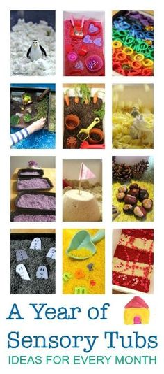 Seasonal sensory tubs for every month - great sensory play ideas, messy play activities for babies, toddlers, preschool and older. by bernadette