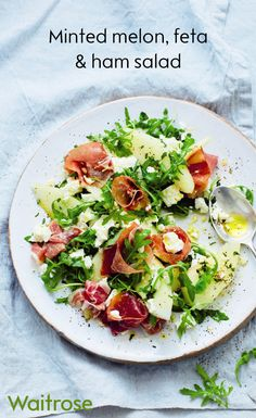 Fresh, delicious and ready in just 15 minutes, the Waitrose recipe for minted melon, feta and ham salad is perfect for a light summer lunch.