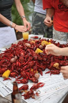 5 tips for a fun crawfish boil! I love tip #3. We like to remove the paper labels from cans of green beans, pineapple, mushrooms, etc. and poke holes in the can. Toss them in the boil and let the spices soak in. So yum!!