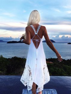 White Sundress + Hippy + Boho..love the back and neckline..Summer perfect + resort.