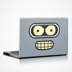 Bender Face Design Protective Decal Skin Sticker / #bender #futurama #laptops