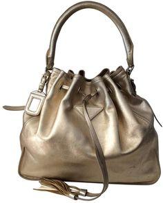 3b6191f8eebc Buy your gold leather handbag Prada on Vestiaire Collective