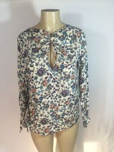 3ada12e56b3e4a 22.00 ❤ TRAFALUC ZARA Womens Floral Print Long Sleeve Blouse 100% Viscose  Size M