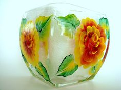 Hand Painted Candle Holder with Bright Yellow by SoundsOfSavanah, $12.00