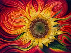 Sunflower. Art by Ricardo Chavez-Mendez. #Curvismo
