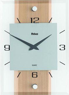 Analóg kvarc falióra, 20x28x5 cm, fa/üveg/alu, bükk Clock, Wall, Wall Clocks, Watch, Clocks, Walls