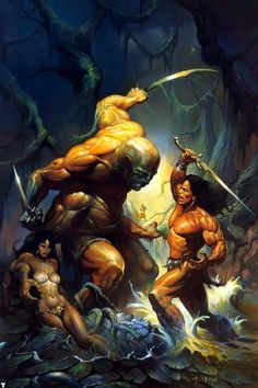 Conan The Formidable / Brutal Swamp / 1990 (Ken Kelly) Boris Vallejo, Fantasy Artwork, Fantasy Posters, Comic Books Art, Comic Art, Digital Art Illustration, Conan The Conqueror, Fantasy Anime, Frank Frazetta