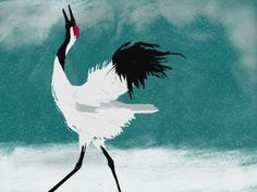 Japanese Crane done with Brushes 3 www.kateosborneart.com