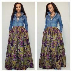 African Print Maxi Skirt with pockets by MelangeMode on Etsy, $105.00