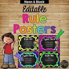 These are great rule posters for around your classroom! They feature Melonheadz clip art and have a black and bright neon theme. The best part is… They are editable!