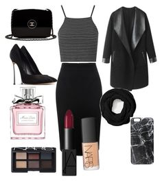"""""""Blackkk #041"""" by molliethompsonn on Polyvore featuring Alexander McQueen, Topshop, Casadei, Columbia, Chanel, Coach, Casetify, Christian Dior and NARS Cosmetics"""