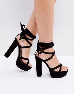 52bc2f1effd7 Truffle Collection Tie Ankle Platform Sandals - Black Lace Up Sandals