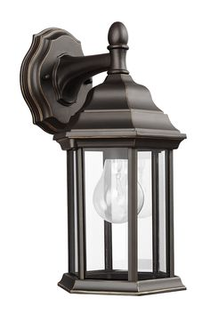 Sevier Small 1- Light Downlight Outdoor Wall Lantern by Sea Gull Lighting: Brings timeless design to new heights with its traditional design details found in classic outdoor fixtures as well as an open bottom for easy maintenance. Made of durable cast aluminum, a multi-level crown, top finial and stepped-edge back plate complete the traditional look. The Antique Bronze finish with Clear glass will look beautiful in your backyard.