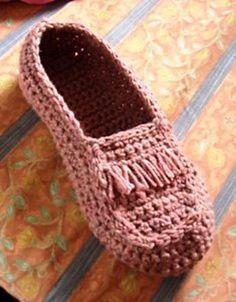 mocasin tejido a crochet