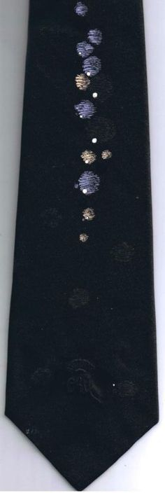 Countess Wara Neck Tie New York Planets Design Gold Mauve BlackC 100% Polyester
