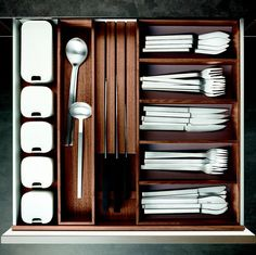 #walnut #drawer #accessories #kitcheninteriors #storage #poggenpohl