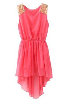 ROMWE | Red Asymmetrical Hem Paillette Dress, The Latest Street Fashion #Romwe