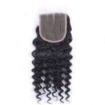 Peruvian Virgin Human Hair Popular 4*4 Lace Closure Deep Wave Natural Hair Line and Baby Hair [PVDWTC]