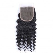 Peruvian Virgin Human Hair Popular 4*4 Lace Closure Deep Wave Natural Hair Line and Baby Hair [PVDWTC]