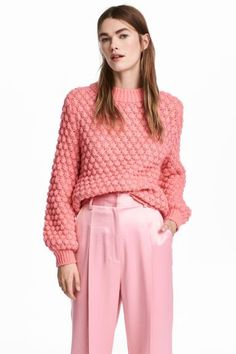 Вязаный джемпер - Светло-розовый - | H&M RU