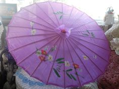 Vintage Purple Flowered Oriental Bamboo silk or Nylon Umbrella Parasol by Daysgonebytreasures on Etsy
