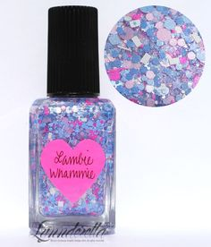 Lynnderella Limited Edition—Lambie Whammie is a blend of two shades of periwinkle, neon pink, cool pastel pink and white in a multishimmered clear base.