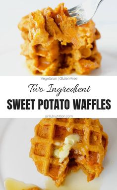 These two ingredient sweet potato waffles are a quick and easy recipe that comes together in less than 15 minutes A gluten-free and healthy breakfast option for any day of the week sinfulnutrition Baby Food Recipes, Gourmet Recipes, Cooking Recipes, Easy Recipes, Simple Sweet Potato Recipes, Paleo Sweet Potato, Cooking Games, Oven Recipes, Vegetarian Cooking