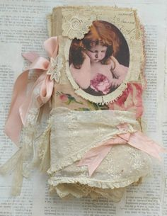 Mixed Media Fabric Collage Book of Shabby Roses and Angels