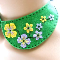 Peter Pan felt collar necklace with freeform hand embroidery - fits any size