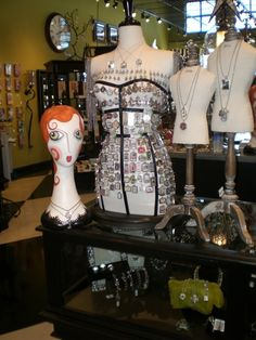 We have mannequin heads and dress forms at www.MannequinMadness.com for displays like this