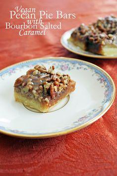 salty sweet pecan pie bars with bourbon caramel sauce #vegan