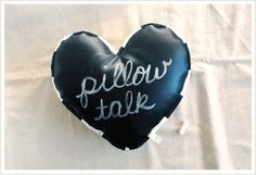 Pillow Talk pillow made of blackboard fabric.  Write a message, erase, and write another - mer mag