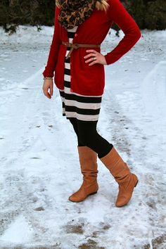 red cardigan, striped dress, leopard scarf, black tights and tan boots