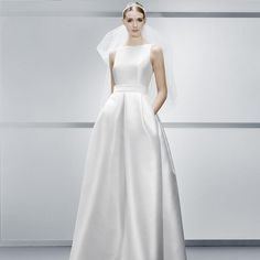 Bateau Neck A Line Wedding Dresses Simple Satin Cheap Wedding Dresses With Pockets Vintage Modern Bridal Gown Wedding Dresses With Color Wedding Gowns Pictures From Mygirl621621, $100.51| Dhgate.Com