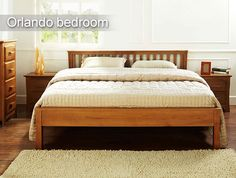 Orlando Bed in natural color. This bed is made with strong and sturdy Beach Wood.  To buy click - http://www.inliving.com/orlando-king-bed