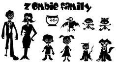 Zombie Family Decals & Stickers. Zombie Stick Family