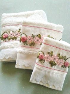 Wonderful Ribbon Embroidery Flowers by Hand Ideas. Enchanting Ribbon Embroidery Flowers by Hand Ideas. Silk Ribbon Embroidery, Embroidery Patterns, Hand Embroidery, Ribbon Art, Ribbon Crafts, Sewing Crafts, Sewing Projects, Decorative Towels, Hand Towels