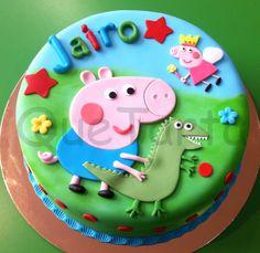 Tarta George y Peppa Pig para Jairo Tarta George Pig, George Pig Cake, George Pig Party, Fiestas Peppa Pig, Pig Birthday Cakes, Cupcakes For Boys, Dinosaur Cake, Big Cakes, Cake Designs