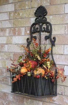 Fall Porch Decorating Pt 4 Another Metal Container Thanksgiving Decorations, Seasonal Decor, Holiday Decor, Autumn Decorating, Porch Decorating, Fall Window Boxes, Fall Arrangements, Decoration Table, House Decorations