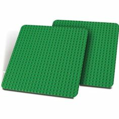 "LEGO DUPLO 2-Large Green Plates 15"" x 15"" Building Plates Baseplate Set 9071"