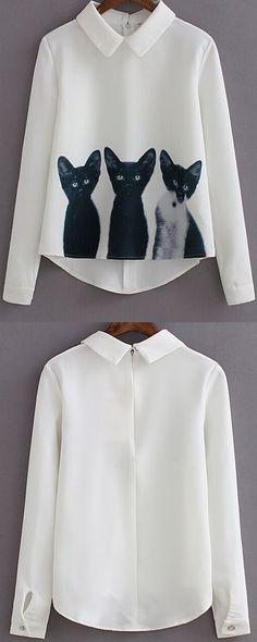 Cute white cat print shirt blouse at romwe.com. High low design with long sleeve make it that fashion& versatile! - mens royal blue button down shirt, mens pink plaid shirt, slim fit white button down shirt *sponsored https://www.pinterest.com/shirts_shirt/ https://www.pinterest.com/explore/shirts/ https://www.pinterest.com/shirts_shirt/white-shirt-for-men/ http://usa.tommy.com/shop/en/thb2cus/search/T-SHIRTS-MEN