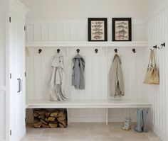 built in bench, hooks and shelves in the mudroom or entryway.