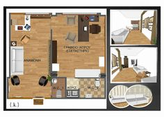 3D floor plan for a medial office in Greece - Aerial view.  Idea board from an interior designer with multiple views and options for wallpaper.  Hardwood floors, tile flooring, computers and desks, and even pictures hung on the walls.      Try RoomSketcher for free & plan your redecorating project:  http://planner.roomsketcher.com/?ctxt=rs_com    image credit: @konstadina_n