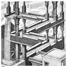 M.C.+Escher+Waterfall | Waterfall Detail - A optical illusion m c escher art wallpaper picture