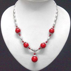handmade Tibet Silver red coral 12MM beads pendant Necklace