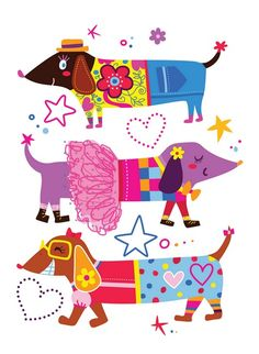 """Sausage Dogs"" by Adina Conisceac // Three doxie fashionista with a lot of sass… Arte Dachshund, Dapple Dachshund, Mini Dachshund, Dachshund Puppies, Weenie Dogs, Corgi Dog, Daschund, Chihuahua Dogs, Doggies"
