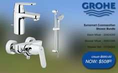 Grohe eurosmart cosmopolitan shower bundle basin & shower mixer, shower rail set @ SGD$508 (32825000, 32837000, 27794000) #grohe #bathroom #shower #taps #promotions #singapore Shower Mixer Taps, Bath Mixer, Shower Rail, Shower Set, Bathroom Gallery, Basin, Bath Taps, Bathroom Bath, Singapore