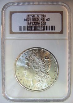 1890 S Silver Morgan Dollar Redfield Hoard Collection NGC MS 63 US Coin Rare